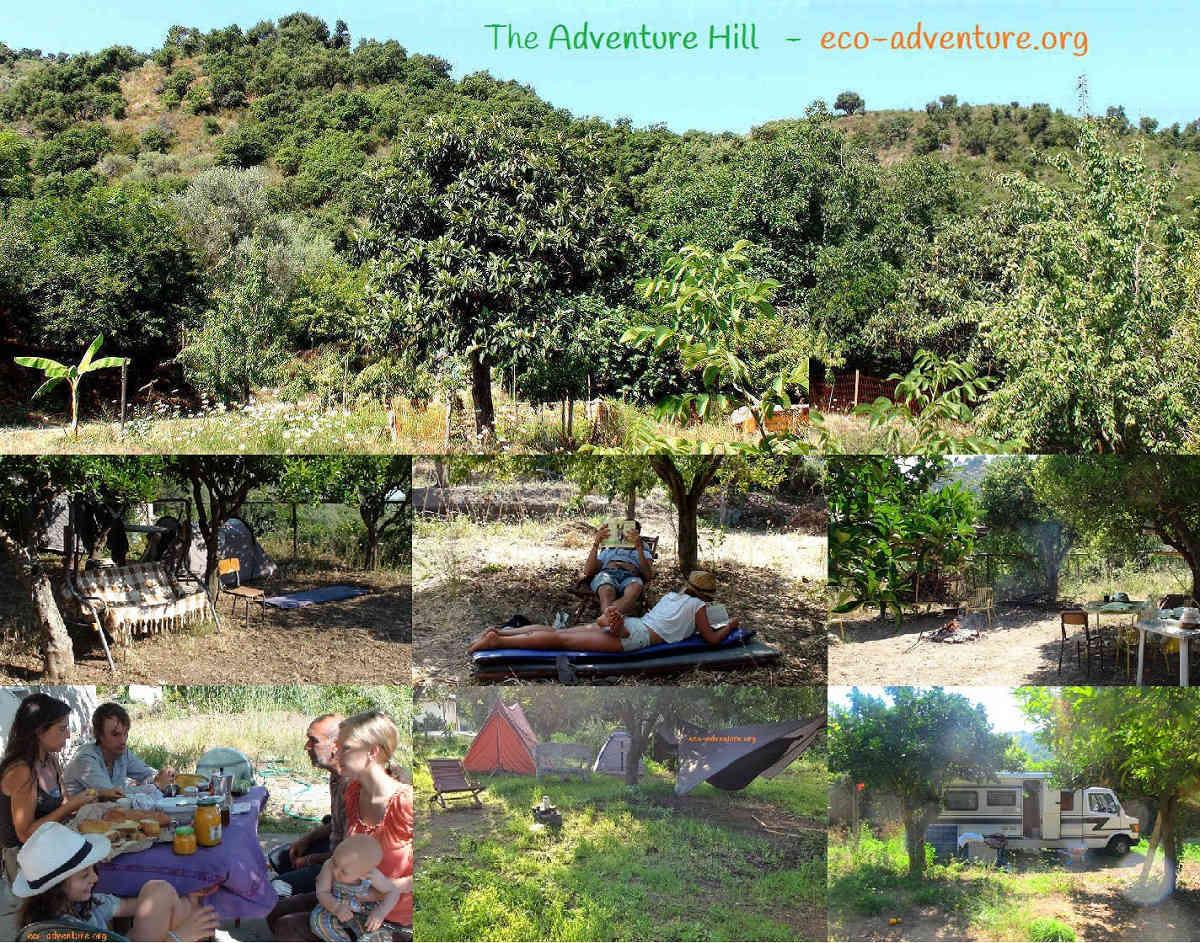 Ausblick auf den Abenteuerberg vom wilden Garten und gute Gemeinschaft