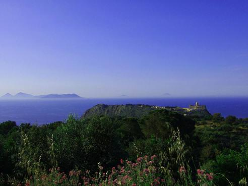 our mountain panorama with the Tyrrhenian Sea the Aeolian Ilands and the Sanctuary of Tyndari.