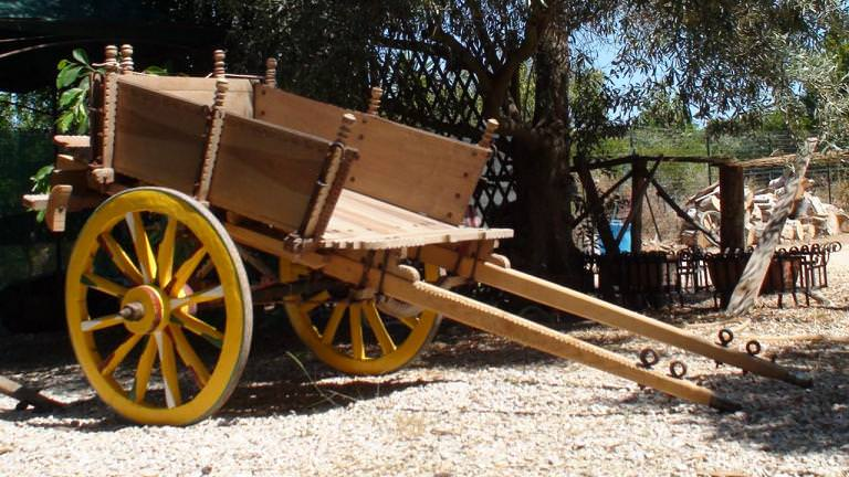 our traditional Sicilian donkey cart - still unpainted.